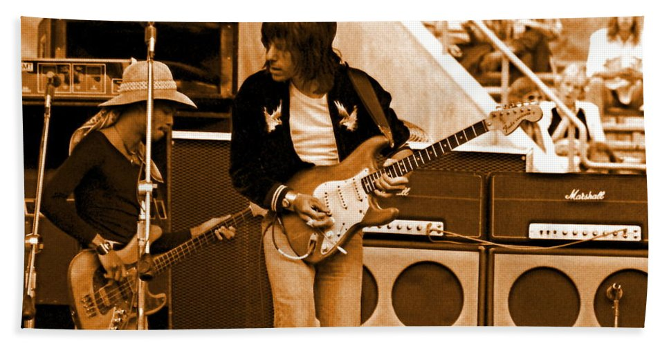 Jeff Beck Beach Towel featuring the photograph Jb #30 In Amber by Ben Upham