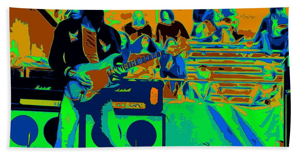 Jeff Beck Beach Towel featuring the photograph Jb #33 Enhanced In Cosmicolors by Ben Upham