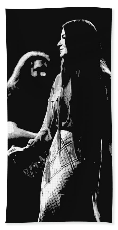 Jerry Garcia Beach Towel featuring the photograph Jerry And Donna Godchaux 1978 A by Ben Upham