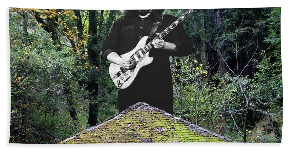 Grateful Dead Beach Towel featuring the photograph Jerry At The Pyramid In The Woods by Ben Upham