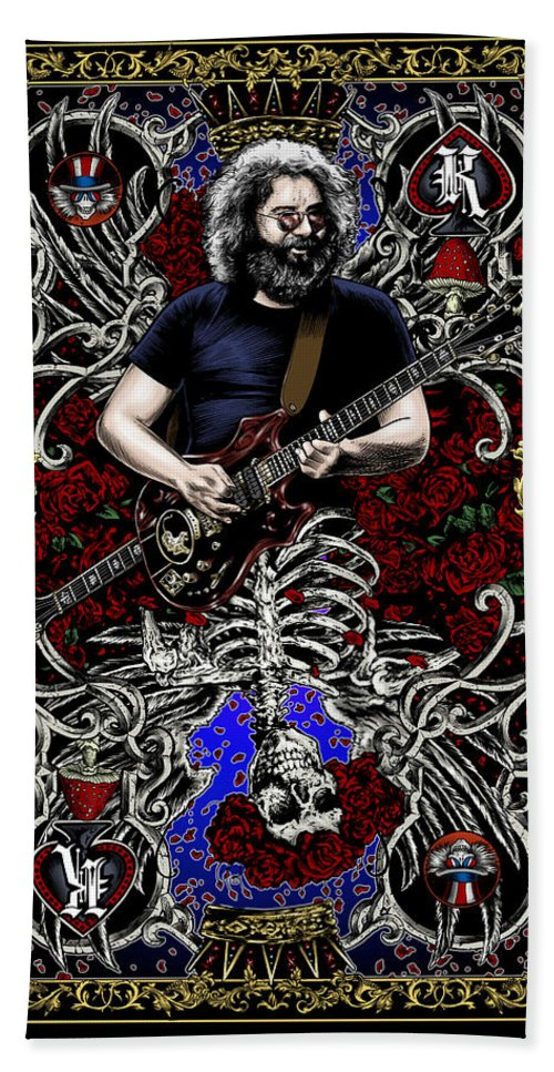 Jerry Garcia Beach Towel featuring the painting Jerry Card by Gary Kroman