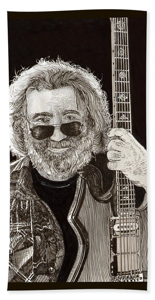 Thank You For Buying A 72 X 48 Canvas Print Of Jerome John Jerry Garcia Who Was An American Musician Who Was Best Known For His Lead Guitar Work Beach Towel featuring the drawing Jerry Garcia String Beard Guitar by Jack Pumphrey