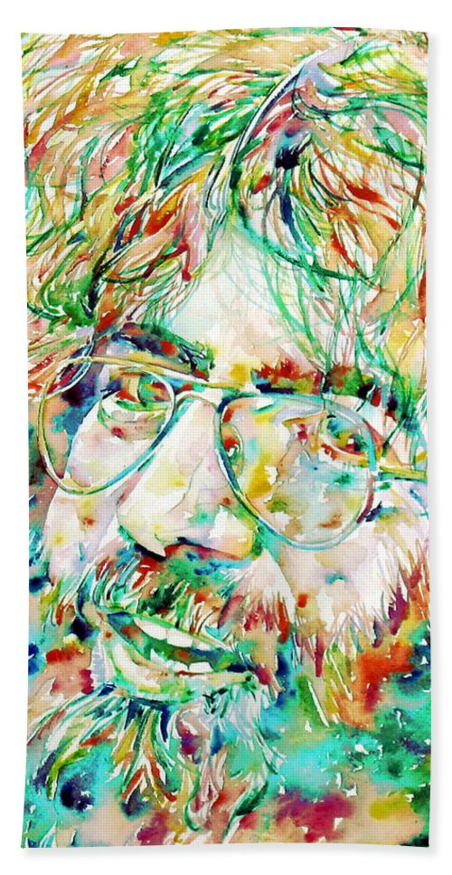 Jerry Beach Towel featuring the painting Jerry Garcia Watercolor Portrait.1 by Fabrizio Cassetta
