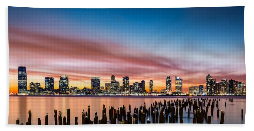 America Beach Sheet featuring the photograph Jersey City Skyline At Sunset by Mihai Andritoiu