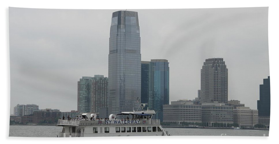 Skyline Beach Towel featuring the photograph Jersey City Skyline by Christiane Schulze Art And Photography