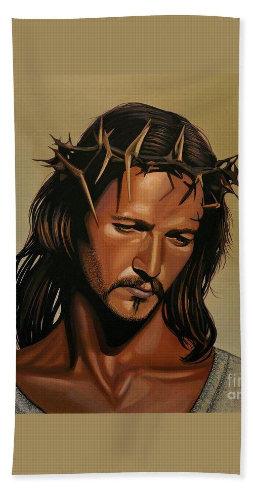 Jesus Christ Beach Towel featuring the painting Jesus Christ Superstar by Paul Meijering