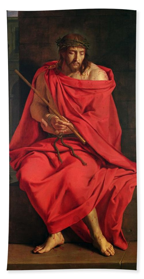 Male Beach Towel featuring the photograph Jesus Mocked Oil On Canvas by Philippe de Champaigne