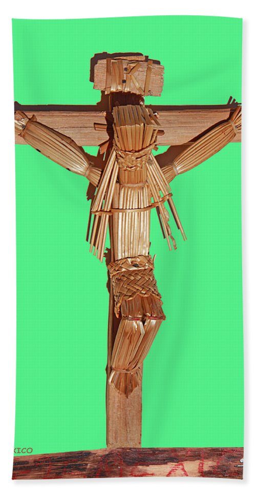 Crucifix Beach Towel featuring the photograph Jesus On The Cross In Mexico 1925 by Carl Deaville