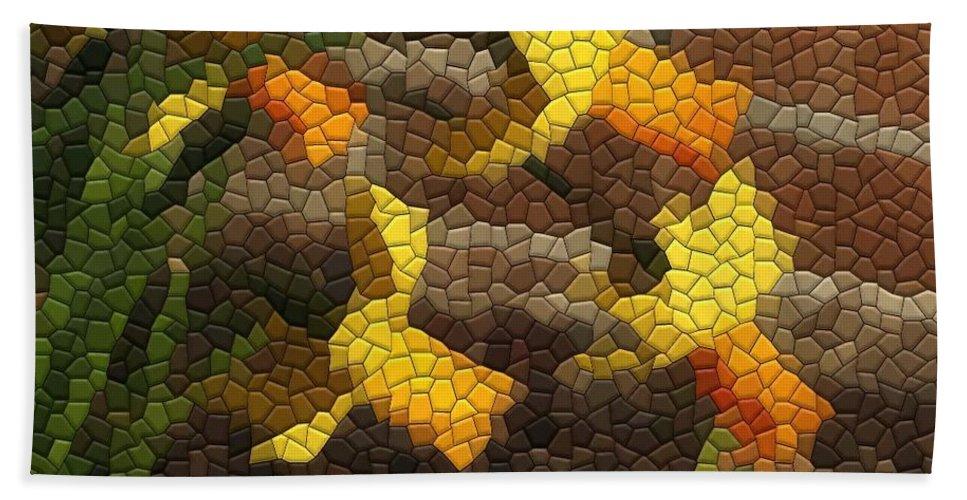 Mosaic Beach Towel featuring the photograph Jetfire Daffs by Kathryn Meyer