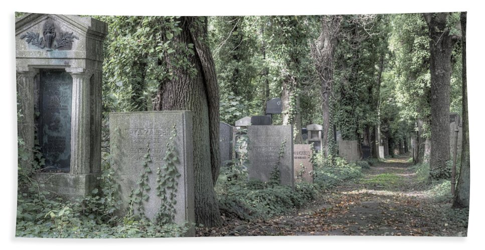 Jewish Beach Towel featuring the photograph Jewish Cemetery Weissensee Berlin Germany by Julie Woodhouse