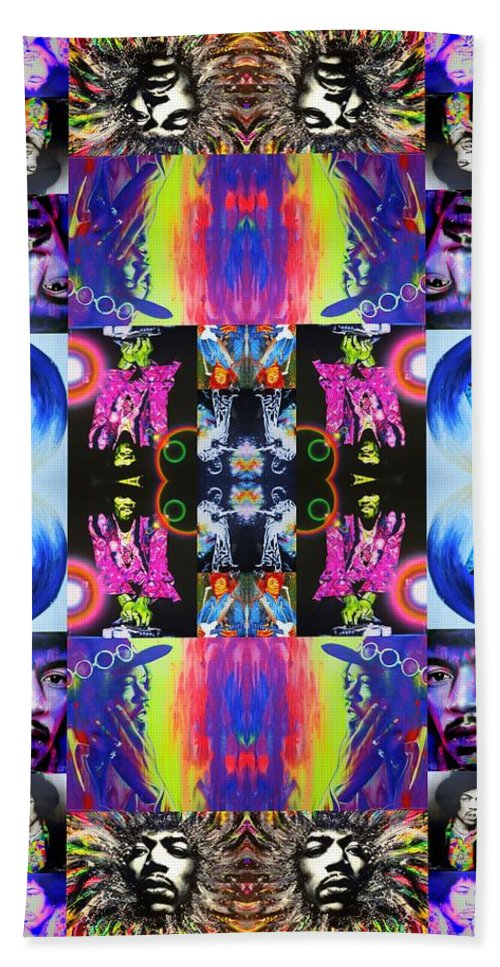 Jimi Hendrix Beach Towel featuring the painting Jimi Kaleidoscope I by Christian Chapman Art