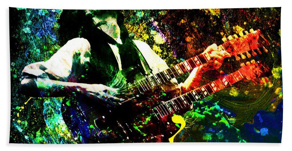 Rock Beach Towel featuring the painting Jimmy Page - Led Zeppelin - Original Painting Print by Ryan Rock Artist