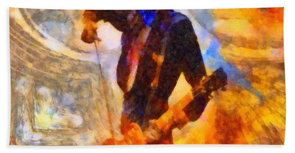 Jimmy Page Beach Towel featuring the painting Jimmy Page Playing Guitar With Bow by Dan Sproul