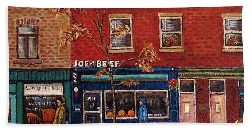 Montreal Beach Towel featuring the painting Joe Beef Restaurant Montreal by Carole Spandau