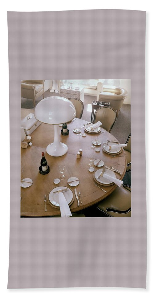 Home Beach Towel featuring the photograph John Dickinson's Dining Table by Fred Lyon