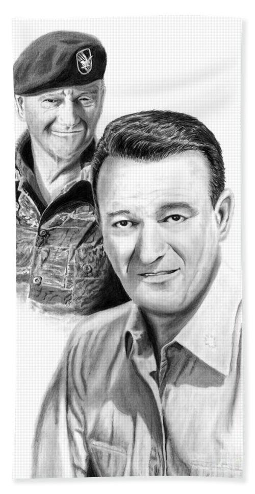John Wayne Beach Towel featuring the drawing John Wayne by Peter Piatt