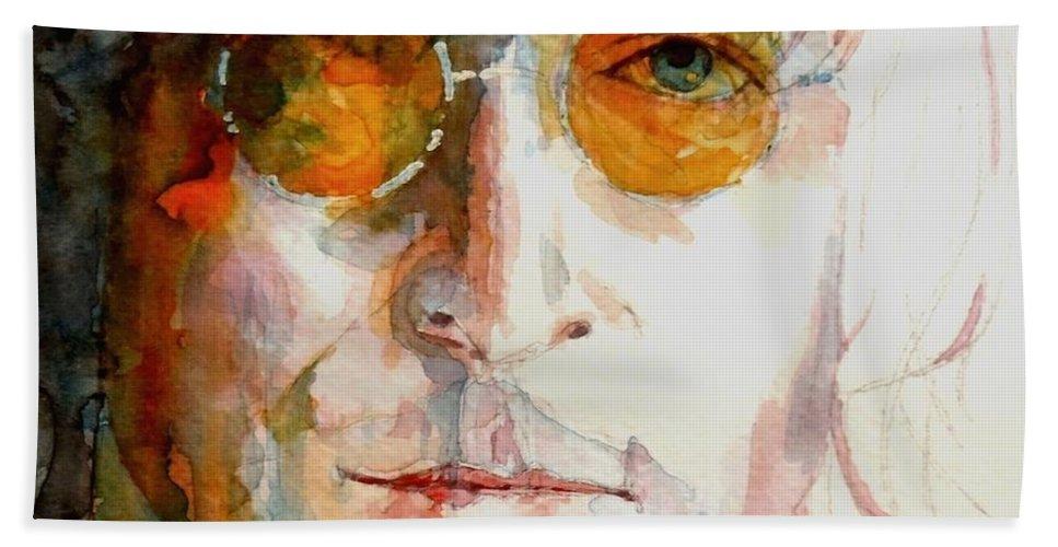 John Lennon Beach Towel featuring the painting John Winston Lennon by Paul Lovering