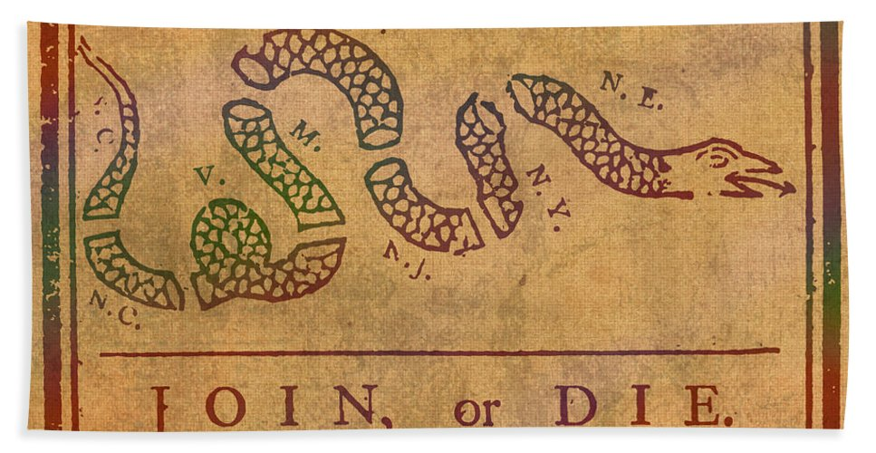 Join Or Die Benjamin Franklin Political Cartoon Pennsylvania Gazette Commentary 1754 On Parchment Beach Towel For Sale By Design Turnpike