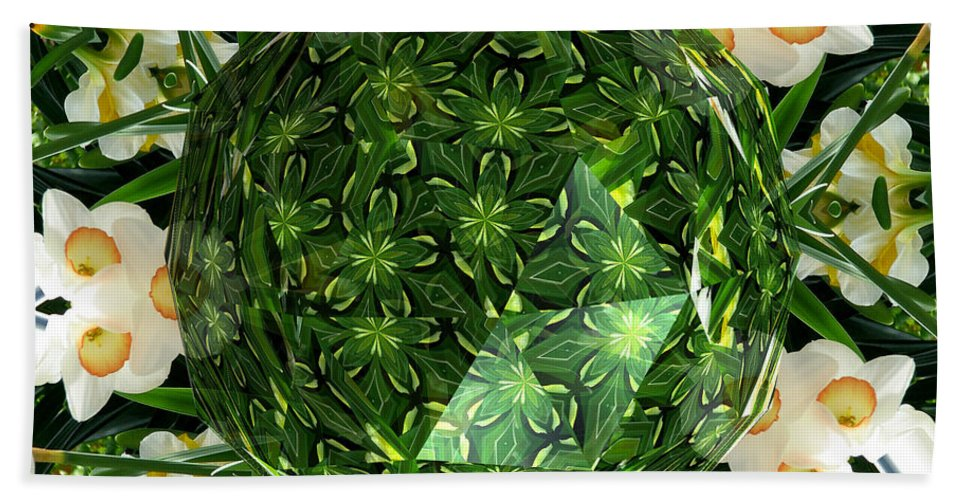 Jonquils Beach Towel featuring the photograph Jonquil Kaleidoscope Under Polyhedron Glass by Rose Santuci-Sofranko
