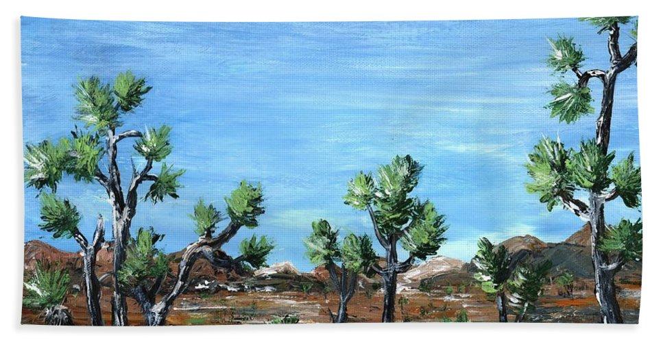 Malakhova Beach Towel featuring the painting Joshua Trees by Anastasiya Malakhova