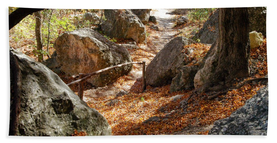 Lost Maples State Park Texas Autumn Fall Leaves Maple Leaf Path Paths Rock Rocks Rail Rails Landscape Landscapes Beach Towel featuring the photograph Journey by Bob Phillips