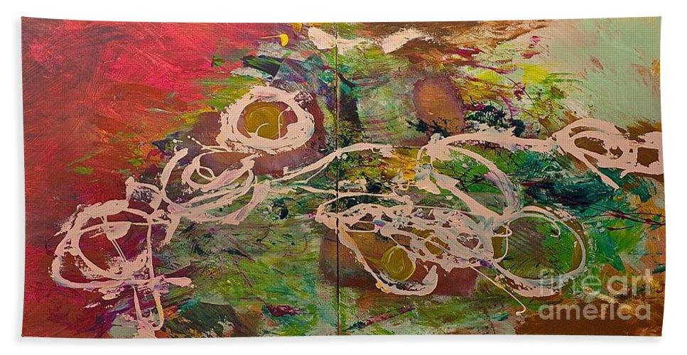 Landscape Beach Sheet featuring the painting Journey Forth by Allan P Friedlander