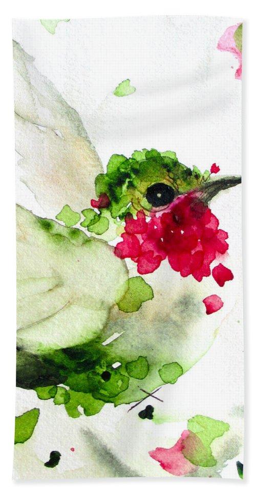 Hummingbird Flight Beach Towel featuring the painting Joyful Flight by Dawn Derman