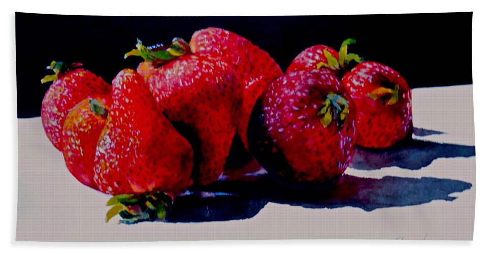 Berries Beach Towel featuring the painting Juicy Strawberries by Sher Nasser