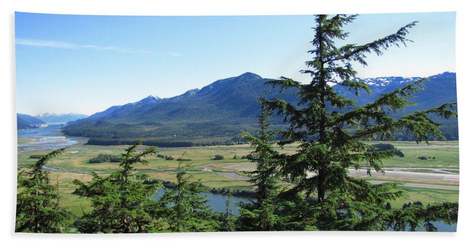 Juneau Beach Towel featuring the photograph Juneau From Glacier Gardens by Jennifer Wheatley Wolf
