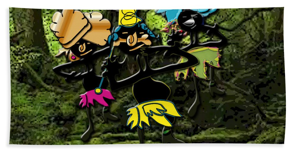 Jungle Dancers Beach Towel featuring the mixed media Jungle Dancers by Marvin Blaine