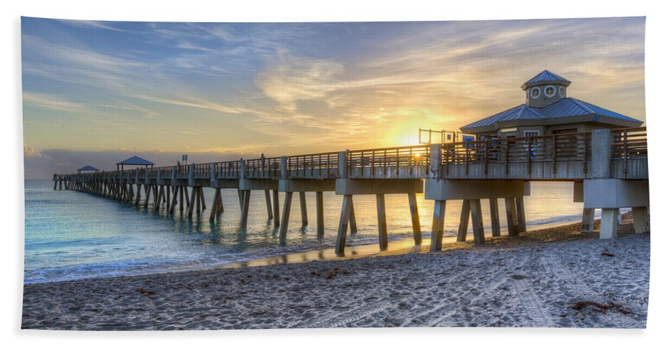 Clouds Beach Towel featuring the photograph Juno Beach Pier At Dawn by Debra and Dave Vanderlaan