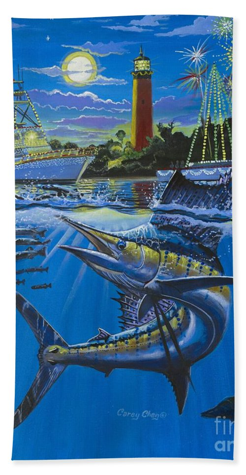 Jupiter Beach Towel featuring the painting Jupiter Boat Parade by Carey Chen