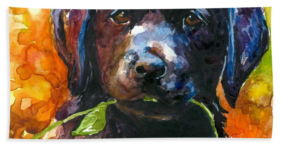 Black Lab Puppy Beach Towel featuring the painting Just Picked by Molly Poole