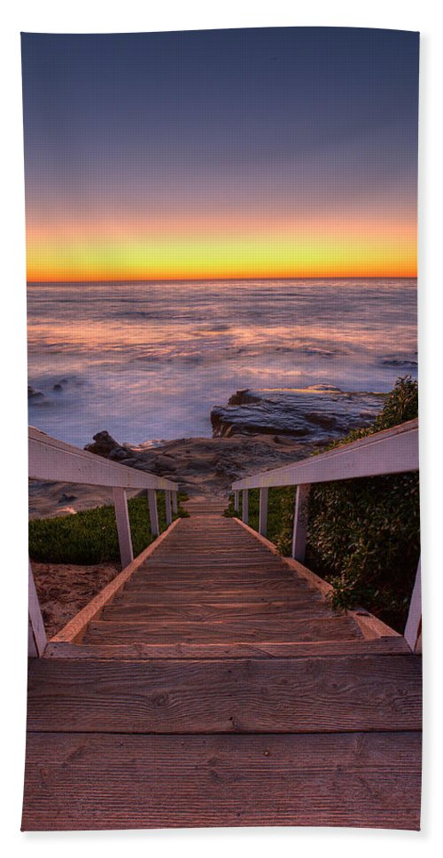 Ocean Beach Towel featuring the photograph Just Steps To The Sea by Peter Tellone