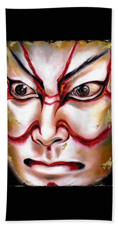 Kabuki Beach Towel featuring the painting Kabuki One by Hiroko Sakai