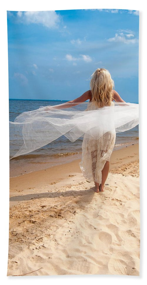 Flying Beach Towel featuring the photograph Kaitlin Flying by Jon Cody