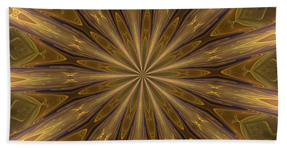 Kaleidoscope Beach Towel featuring the digital art Kaleidoscope With Gold by Deborah Benoit