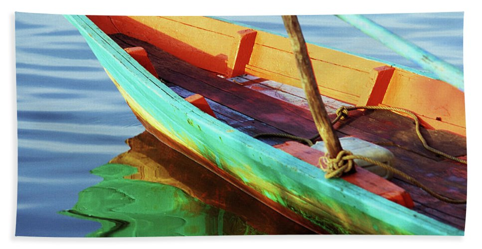Cambodia Beach Towel featuring the photograph Kampot Boat 01 by Rick Piper Photography