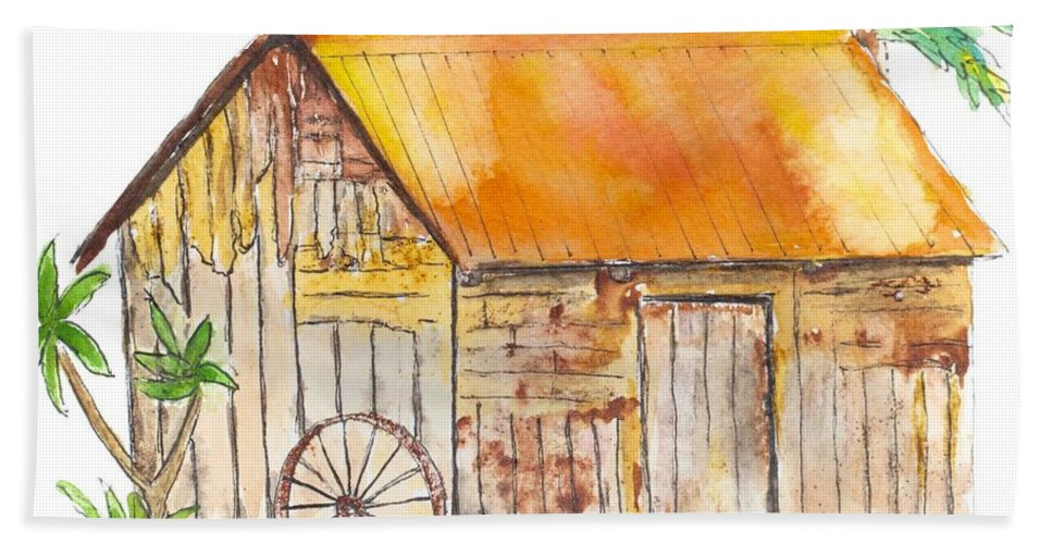 Rustic Beach Towel featuring the painting Karanambo Shed by Patricia Beebe