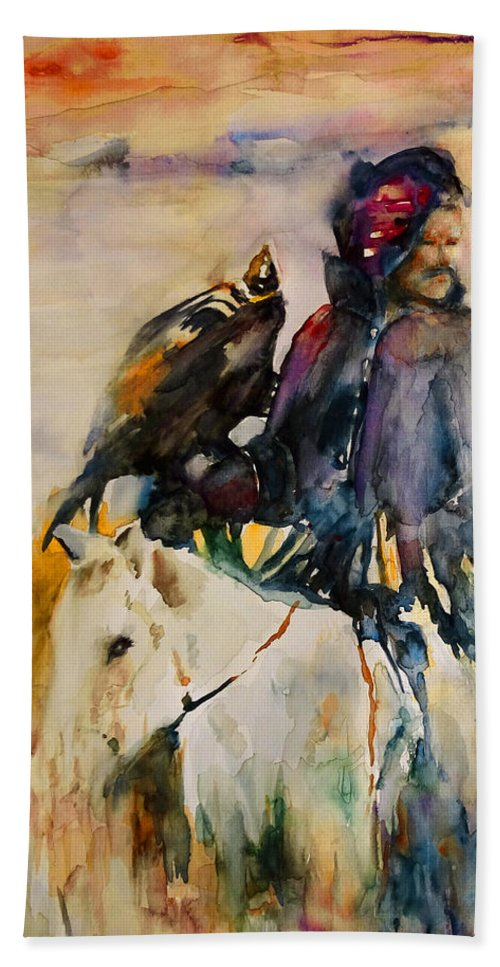 Watercolour Beach Towel featuring the painting Kasak With Falcon by Miki De Goodaboom