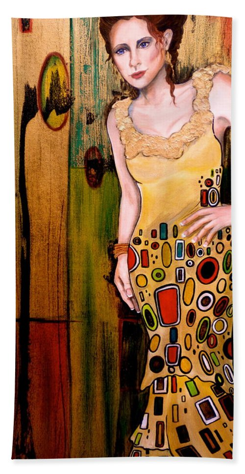 Woman Beach Towel featuring the painting Kate by Debi Starr