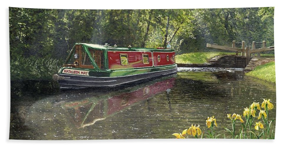 Landscape Beach Towel featuring the painting Kathleen May Chesterfield Canal Nottinghamshire by Richard Harpum