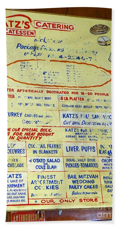 Katzs Deli Beach Towel featuring the photograph Katz's Catering by Ed Weidman