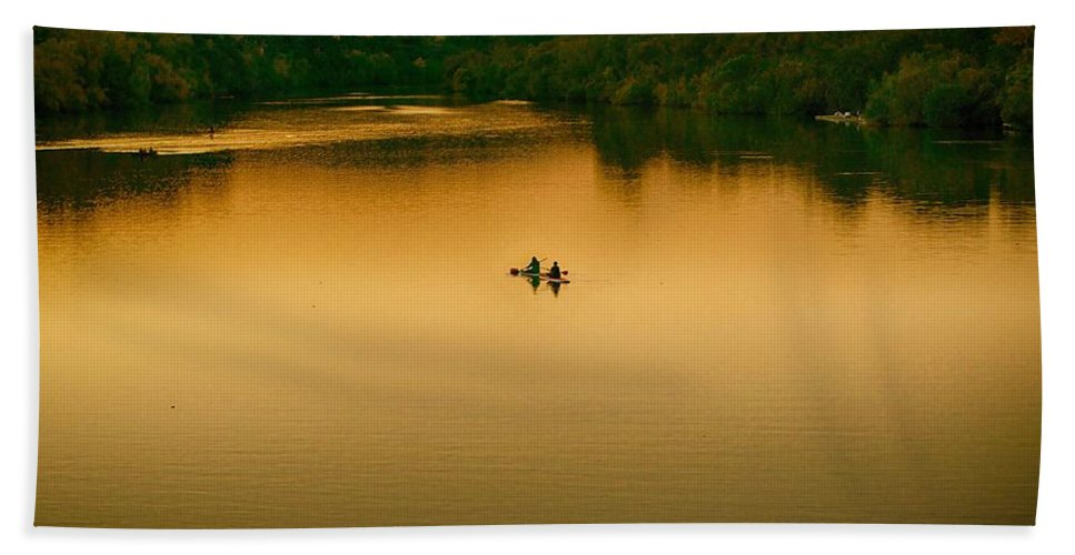 Kayak Beach Towel featuring the photograph Kayaking On Lady Bird Lake by Kristina Deane