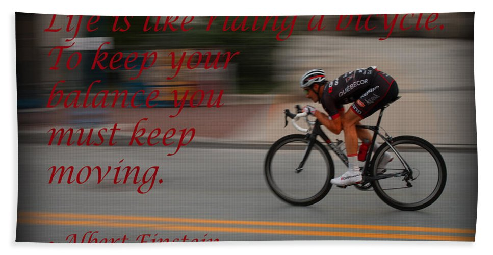 Bicycle Beach Towel featuring the photograph Keep Moving by Michael Porchik