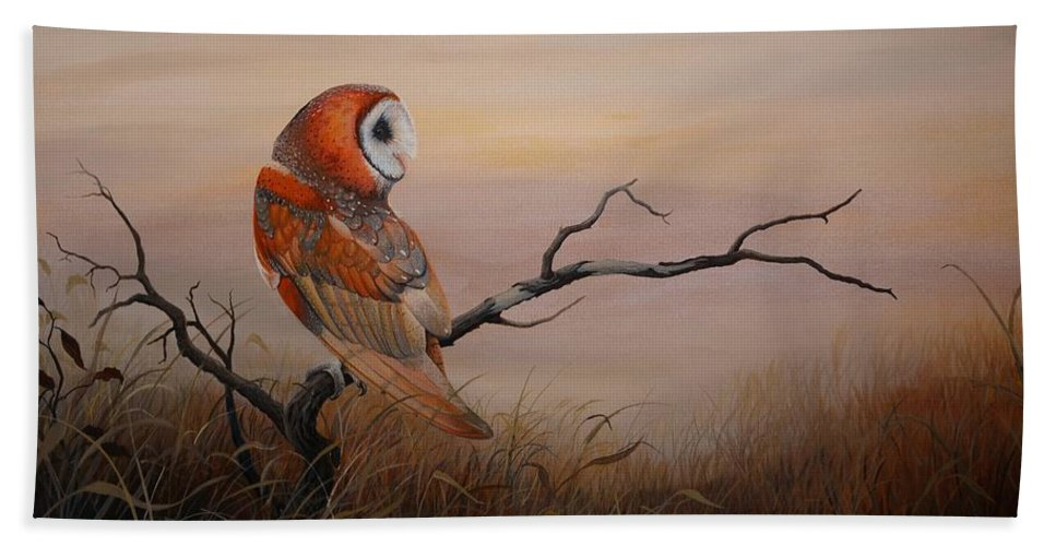 Barn Owl Beach Towel featuring the painting Keeper Of Dreams by Charles Owens