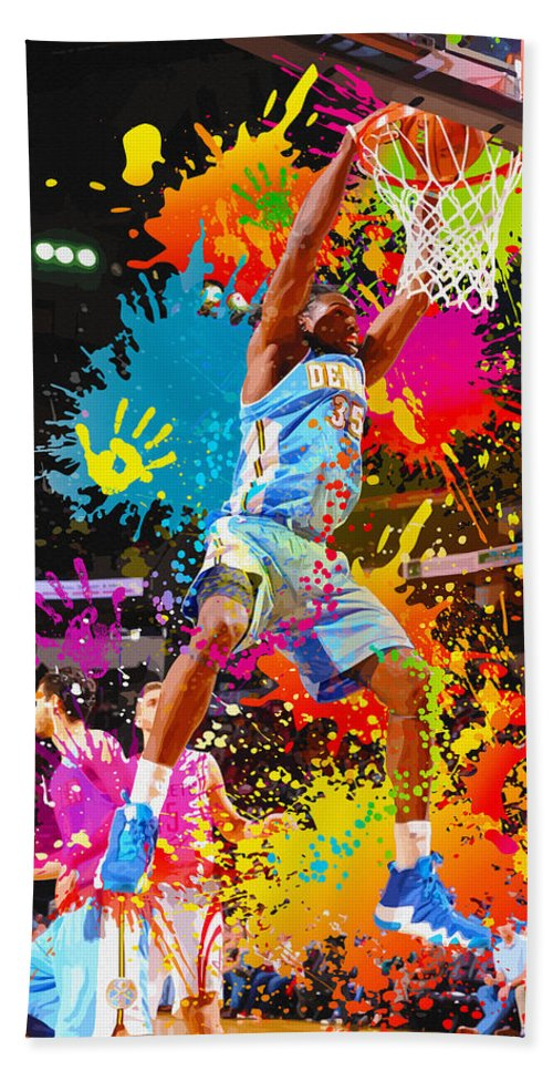 Kevin Garnett Beach Towel featuring the digital art Kenneth Faried Of The Denver Nuggets Dunks by Don Kuing
