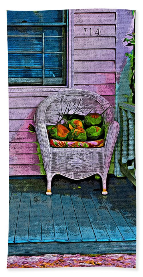 Key West Fl Beach Towel featuring the photograph Key West Coconuts - Colorful House Porch by Rebecca Korpita
