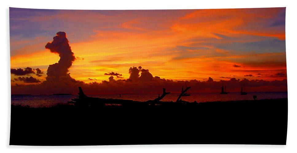 Key West Sun Set Photograph Beach Towel featuring the photograph Key West Sun Set by Iconic Images Art Gallery David Pucciarelli