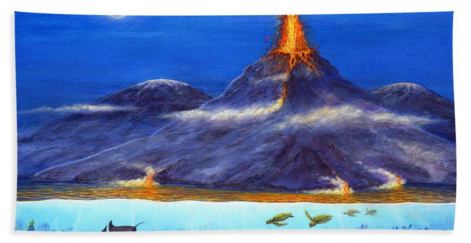 Kilauea Beach Towel Featuring The Painting Volcano Hawaii By Jerome Stumphauzer